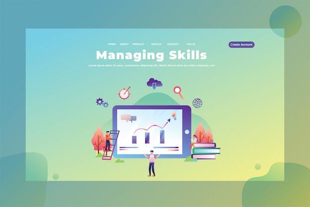 Las habilidades de administrar sus tareas ilustración de plantilla de página de destino de encabezado de página web