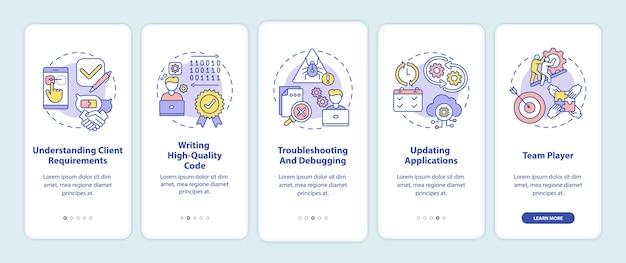 Habilidades de desarrollador de aplicaciones para incorporar la pantalla de la página de la aplicación móvil con conceptos