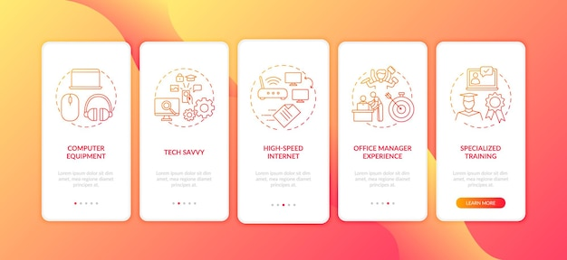 Habilidades de los empleados en la pantalla de página de la aplicación móvil de incorporación roja con conceptos aislados
