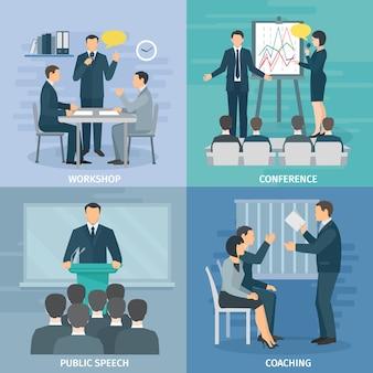 Habilidades para hablar en público taller de coaching presentación y conferencia 4 iconos planos composición cuadrados