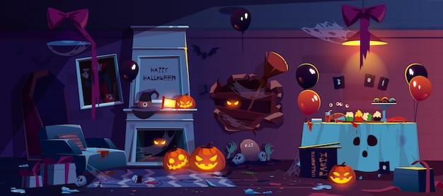Habitación abandonada con decoración de fiesta de halloween