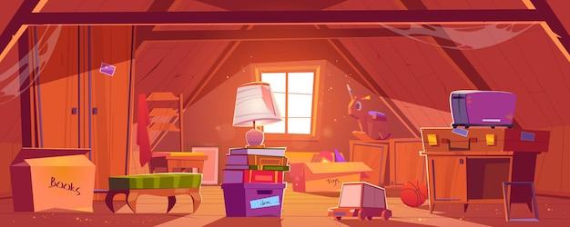 Habitación abuhardillada con cosas viejas, buhardilla en techo con ventana y muebles