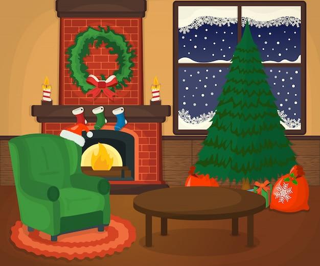 Habitación acogedora de navidad con árbol de navidad, chimenea, sillón, concepto de regalo