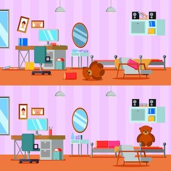 Habitación adolescente desordenada y limpia de niña en composiciones planas de color naranja lila aisladas