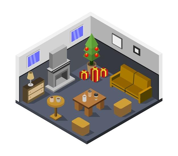 Habitación con árbol de navidad isométrico