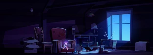 Habitación del ático de noche abandonada con niño fantasma, juguetes para niños viejos y muebles en la oscuridad.