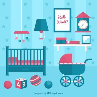 Habitación de bebé azul con cuna y cochecito