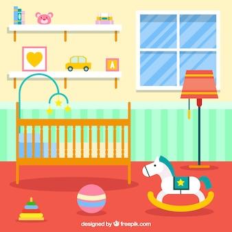 Habitación del bebé bonita en diseño plano