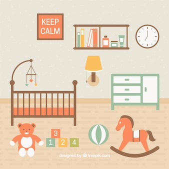 Habitación de bebé bonita con juguetes en el suelo