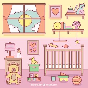 Habitación del bebé colorida con juguetes y cuna