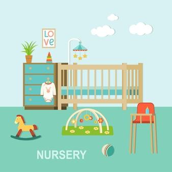 Habitación de bebé, con, furniture., guardería, interior., plano, estilo, vector, ilustración