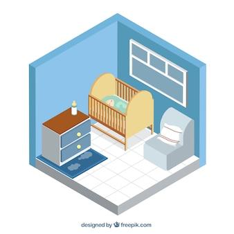 Habitación de bebé isométrica