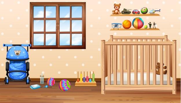 Habitación para bebés con bacalao y juguetes.