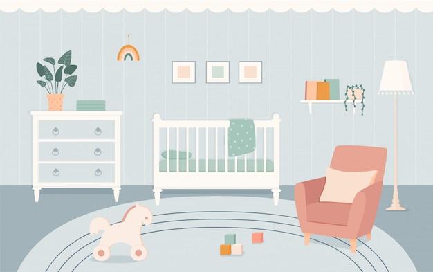 Habitación para bebés con muebles de estilo plano.