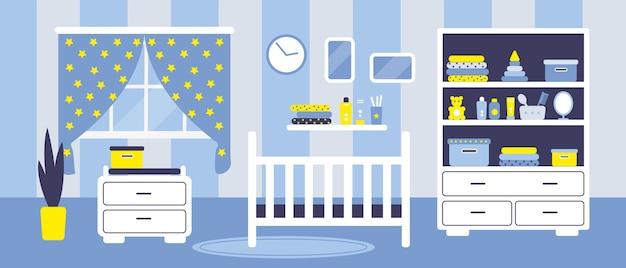 Habitación de bebés para niños con muebles.