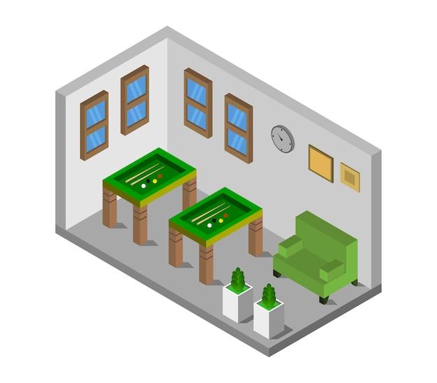 Habitación con billar isométrico