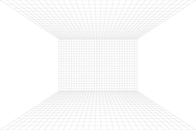 Habitación blanca con perspectiva de cuadrícula con fondo gris de estructura metálica. modelo de tecnología digital cyber box. plantilla arquitectónica abstracta de vector