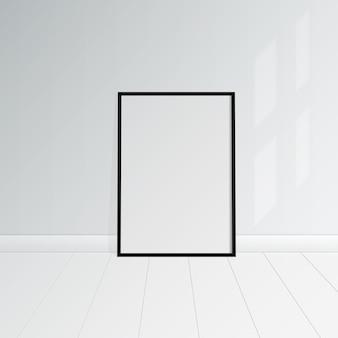 Habitación blanca vacía con ilustración de vector de maqueta de cartel