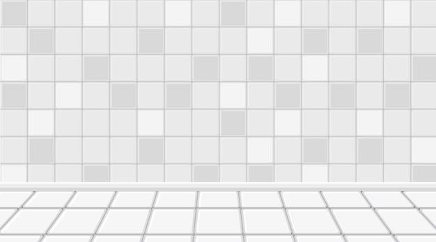 Habitación blanca vacía con piso y pared de baldosas blancas