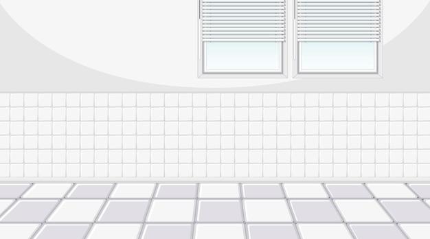 Habitación blanca vacía con ventanas y azulejos blancos