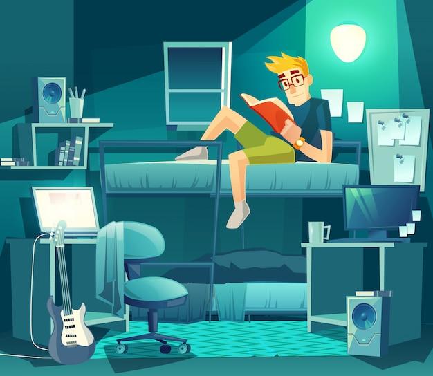 Habitación compartida por la noche. compañero de habitación en la litera con luz de la lámpara, preparación para el examen