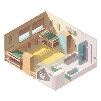 Habitación de cuatro camas en el vector isométrico del campamento escolar