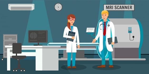 Habitación con escáner de resonancia magnética y ilustración de médicos.