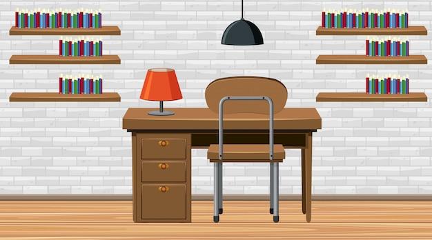 Habitación con escritorio y silla de madera.