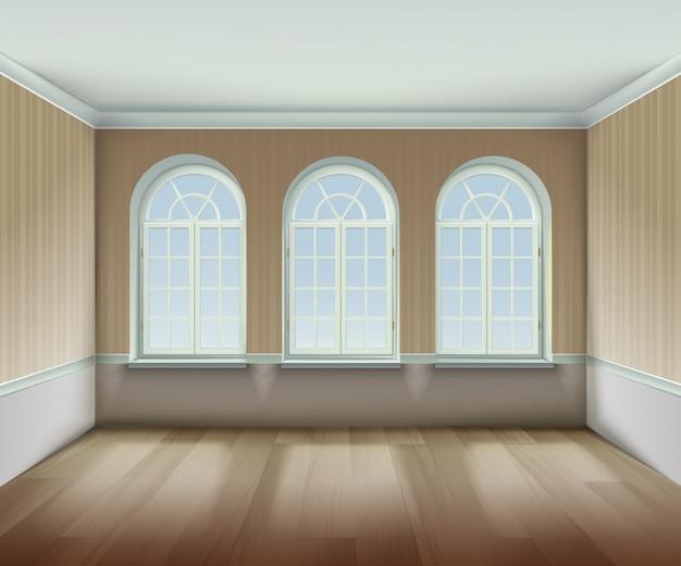 Habitación con fondo de ventanas arqueadas