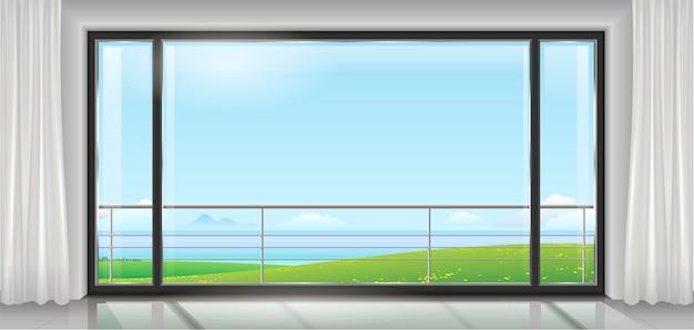 Habitación con una gran ventana.