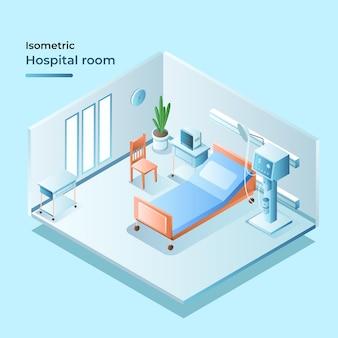 Habitación de hospital isométrica con cama y plantas.