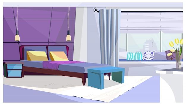 Habitación de hotel con cama en color púrpura.