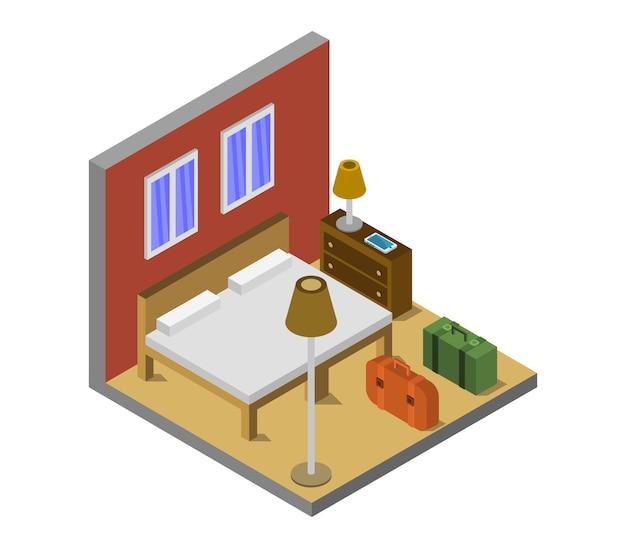 Habitación de hotel isométrica