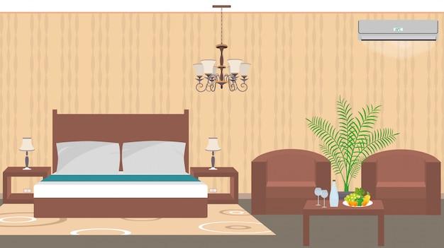Habitación de hotel de lujo interior de estilo oriental con muebles, aire acondicionado