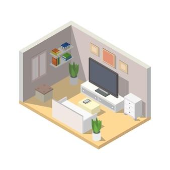 Habitación con ilustración de televisión isométrica.