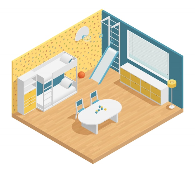 Habitación infantil en composición isométrica con cajones y escalera.