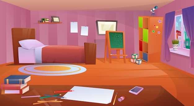 Habitación infantil de dibujos animados