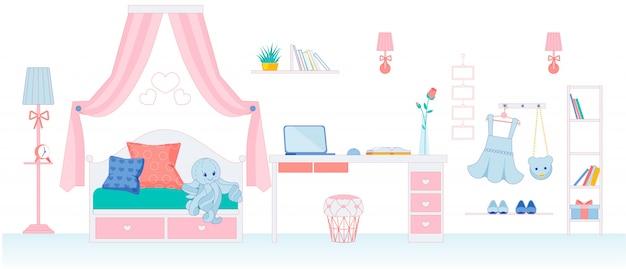 Habitación infantil para niña en colores rosa.