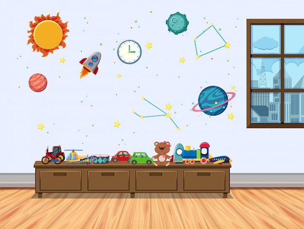 Habitación infantil con ventana y juguetes.