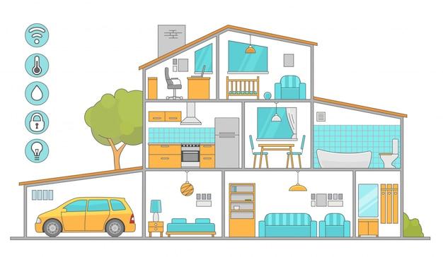 Habitación interior con muebles. ilustración de estilo plano