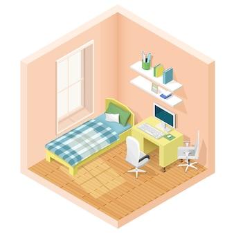 Habitación isométrica gráfica moderna con cama y lugar de trabajo. iconos de muebles isométricos. ilustración.