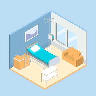 Habitación isométrica del hospital limpio