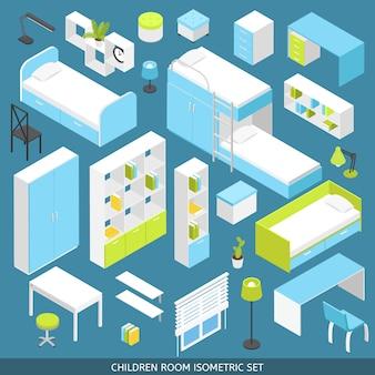 Habitación isométrica para niños, set creador de escenas
