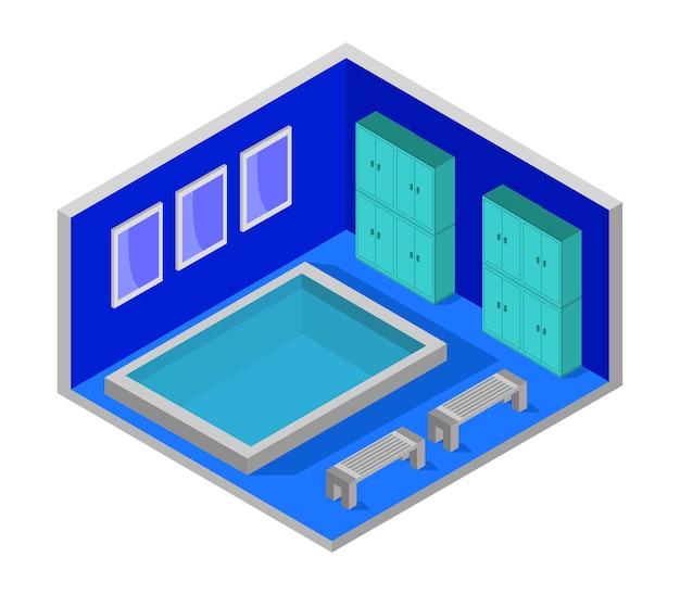 Habitación isométrica con piscina.
