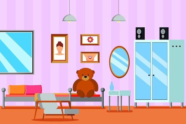 Habitación juvenil para niña composición plana con mueble espejo y cuadros en pared lila