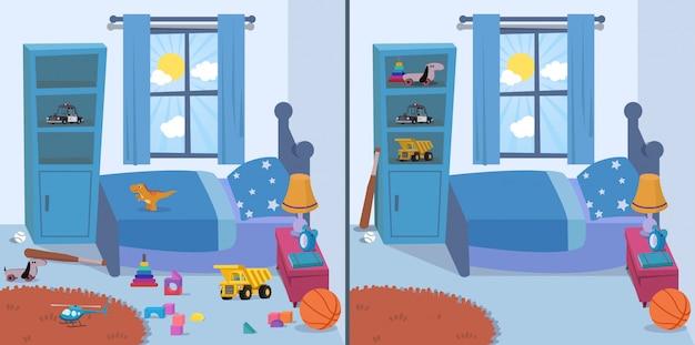 Habitación limpia y sucia