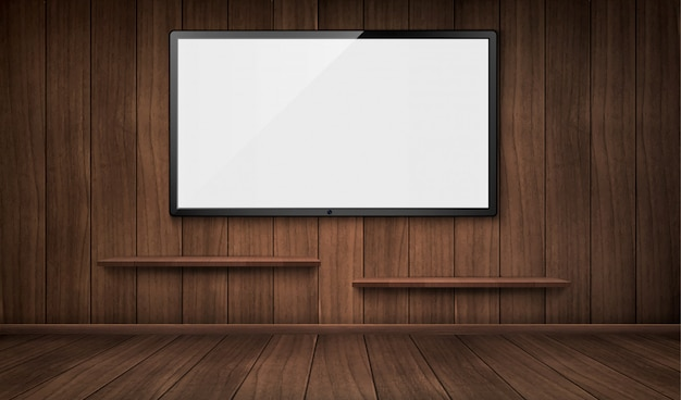Habitación de madera vacía con pantalla de televisión y estanterías