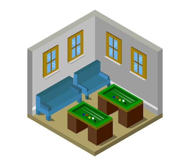 Habitación con mesas de billar isométricas.