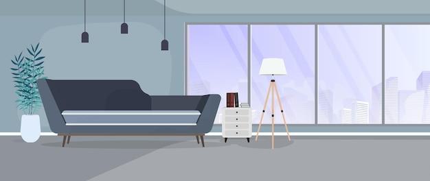 Habitación moderna con grandes ventanales. sofá, soporte con libros, lámpara de pie, planta de interior, ventanas panorámicas, sala, oficina. ilustración.