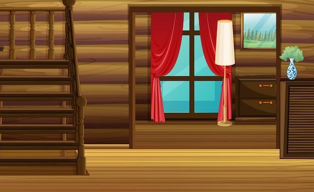 Habitación con muebles de madera y escaleras.